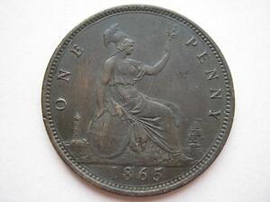 1865/3 Queen Victoria Penny, GVF.