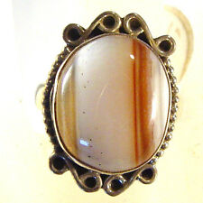 Sterling silver ring, Botswana agate, size 7 1/2; head measures 1 x 3/4 inch
