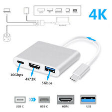 Type C to USB-C 4K HDMI USB 3.0  3in1 Hub Adapter Cable For Apple Macbook Silver