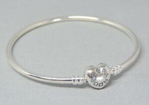 "Moments Pandora 7.5"" Bangle Heart Clasp Bracelet Charm/Bead Silver 925 596268-19"