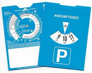 2x Europa Parkscheibe Parkuhr mit Benzinrechner ohne Werbung parking disc