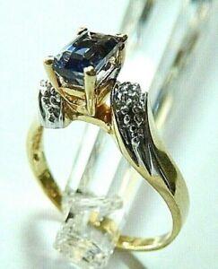 14K Yellow Gold Emerald Shape Tanzanite Center with Diamond Accents Ring Siz 7.5