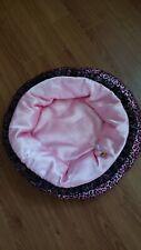 "Build a Bear Pet Bed Pink Plush Cat Dog Heart Round Pillow 17"""