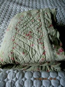 simply shabby chic lady rose green floral scalloped quilt queen