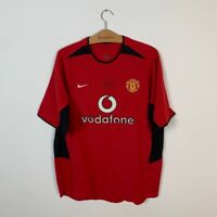 MANCHESTER UNITED HOME FOOTBALL SHIRT 2002/2004 WES BROWN SIGNED JERSEY NIKE L