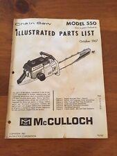 McCulloch Chainsaw Manual Model 550 , 1967