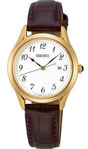 Seiko Ladies Leather Strap Watch SUR638P1 NEW