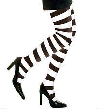 sexy Damen Strumpfhose Ringelstrumpfhose 70DEN schwarz/weiss Karneval & Fasching