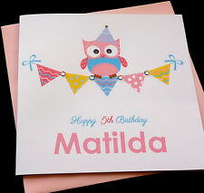 Personalised Handmade Owl & Bunting Birthday Card