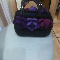 Hand Made Felt Hand Bag Black With 3 Flowers Both Sides Black Handel's