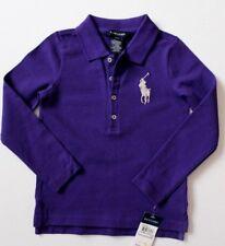 Ralph Lauren Girls Polo Top Long Sleeves Big Pony Purple Size 4 / 4T NWT