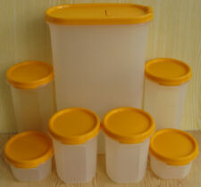 More details for 7 vintage retro tupperware plastic modular mates yellow lids storage containers