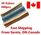 600PCS 30 Values 1/4W 1% Metal Film Resistors Resistance Assortment Kit Set
