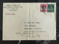 1946 Singapore Malaya Commercial Cover To Parkville MO Usa Overprinted Stamps