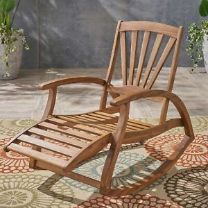 Kelsey Outdoor Acacia Wood Rocking Chair with Footrest