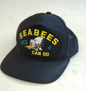 Vintage US NAVY SEABEES Snapback Trucker Hat Patch Cap Made.in the USA