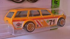 HOT WHEELS 2016 CUSTOM MADE DATSUN 510 WAGON YELLOW BBS TYPE WHEELS CUSTOM