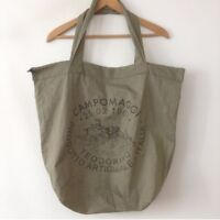 Campomaggi Dust Hand Cotton Shopper Bag Shopping Tote Designer Beach Green NEW