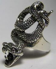 Quality LARGE POSIONOUS SNAKE BIKER SILVER RING BR150 jewelry RINGS mens fangs