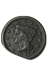 1847 Large Cent Braided Hair
