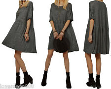 Womens Casual Summer Short Sleeve Oversize Loose TUNIC Style Swing Dress Gray XL