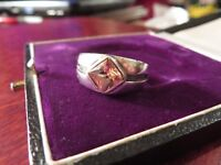 Wundervoller 925 Silber Ring Rillen Citrin Rauchquarz Braun Orange Sterling