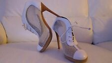 "WOMEN WHITE MESH BOOTS/SHOES ""POLLINI"" HIGH HEELS ,REAL LEATHER EU 38,UK 5"