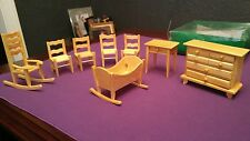Dollhouse Miniature Wooden Baby Nursery Room Furniture Set 8 pieces gloss finish