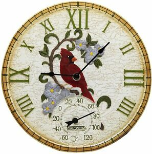"""Springfield 14"""" Poly Resin Cardinal Clock with Thermometer, Dial - Multicolor"""