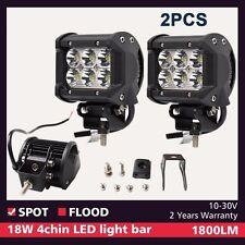 2x 18W 4inch LED Work Light Spot Pods Fog Reverse Pickup 4x4 Bumper Offroad ATV