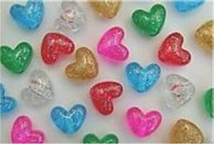 Glitter Heart Pony Beads Size app, 12mm  Mixed Colur