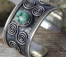 Extrem Massiv Armreif Silber Türkis Spirale Handarbeit Armspange Hammerschlag