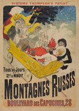 JULES CHERET Montagnes Russes Roller Coaster, Art Nouveau Belle Epoque Poster