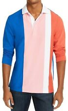 Club Room Mens Rugby Polo Shirt Blue Pink Sz Large L Colorblock Striped $55 078