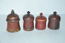 4 Pc Old Wooden Handcrafted Red Handpainted Solid Powder Boxes