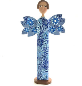 Angel Sculpture Religious Statue Wood Carved Hand Painted Colorful Ethnic UNIQUE