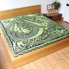 Green Celtic Fire Dragon throw Fair Trade Double Bed spread sofa cover hanging