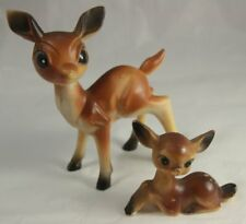 Vintage Parent and Child Pair Hard Plastic Deer Hong Kong
