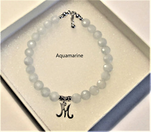 *Choice of Gemstone* easyfit bracelet with 925 Sterling silver *Initial* charm
