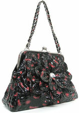 Floral Clasp Tote Handbags with Inner Pockets