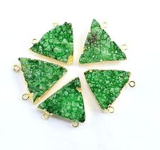 1Pc Green Agate Druzy Gold Plated Double Bail Connector Pendant Necklace Jewelry