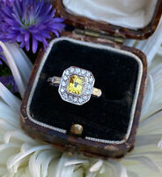 Art Deco Yellow Sapphire and Diamond Cluster Platinum Ring 0.35 + 1.20ct