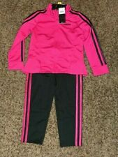 Adidas Girls Tricot Jacket and Pants Track Suit Set  Magenta Zip Pink