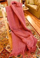 Handmade Crochet Afghan Throw - Lovely Rose Color Herringbone