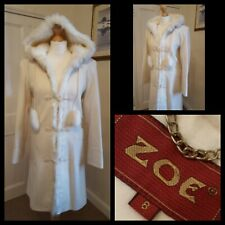 Zoe Cream Duffle Coat Wool Blend Winter Faux Fur Trim Hooded Size 8