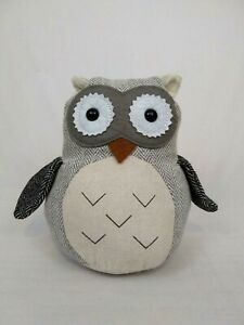 "Owl Weighted Door Stop Stopper Fabric Stuffed Brown Tan Black Aldi  2.6 lb  8"""