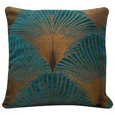 Art Deco Fan Cushion. Luxury Velvet Chenille. Gold & Teal Blue Geometric Design.