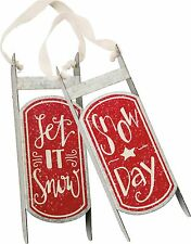 LET IT SNOW & SNOW DAY Tin Sled Christmas Ornaments Set of 2 Primitives by Kathy