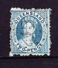 QUEENSLAND 1861-62  Victoria  2p. Bleu  Petite étoile Truncated star