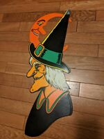 Vintage Halloween The Beistle Co. Diecut  Witch With Man In The Moon